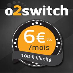 o2switch : 6€ TTC par mois, 100% illimité
